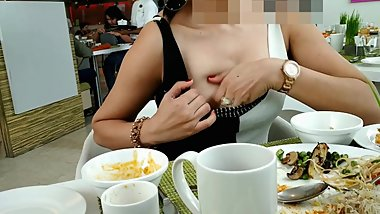 Pankhuri showing boobs in a restaurant while breakfast