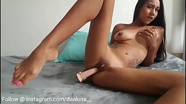 Sensual barely legal girl fufills her desire with huge dildo.